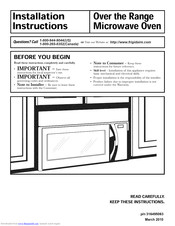 Frigidaire FGMV153CLWA Installation Instructions Manual