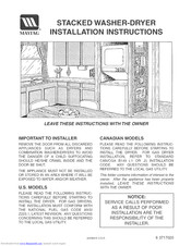 Maytag LSE7806ACE Installation Instructions Manual