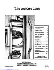 KitchenAid 20' Freestanding/built-in side by side Refrigerator Use And Care Manual