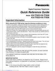 PANASONIC KX-T7625CE Quick Reference Manual