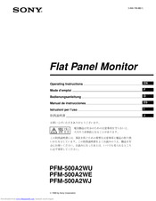 SONY PFM-500A2WE, PFM-500A2WU, PFM- Operating Instructions Manual