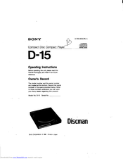 Sony Discman D-15 Operating Instructions Manual