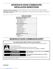 Whirlpool MICROWAVE HOOD COMBINATION Installation Instructions Manual