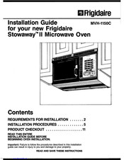 Frigidaire MVH-1150C Installation Manual