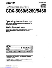 Sony CDX-5460 Operating Instructions Manual