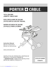 Porter Cable 10 In 254 Mm Jobsite Table Saw Instruction Manual Pdf Download Manualslib