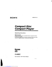 Sony Car Discman D-M805 Operating Instructions Manual