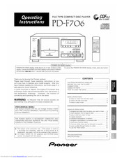Pioneer PD-F706 Operating Instructions Manual