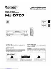 Pioneer MJ-D707 Operating Instructions Manual