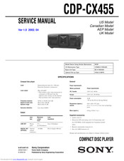 Sony CDPCX455 - 400 Disc MegaStorage CD Changer Service Manual