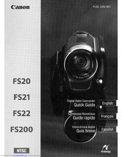 Canon FS200 - Camcorder - 680 KP Quick Manual