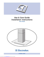 Electrolux Vent Hood Use & Care Manual Installation Instructions