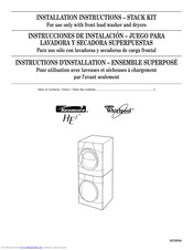 Whirlpool For use only with front load washer and dryers Installation Instructions Manual