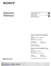 Sony Bravia KDL-32R420B Operating Instructions Manual