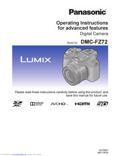 Panasonic Lumix DMC-FZ72 Operating Instructions Manual