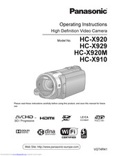 Panasonic HC-X920 Operating Instructions Manual