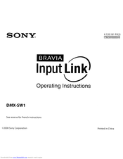 Sony DMX-SW1 - Bravia Input Link Operating Instructions Manual