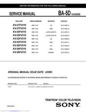 Sony Kv 36fv310 36 Trinitron Wega Manuals Manualslib