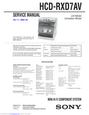 Sony HCD-RXD7AV Service Manual