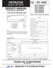 Hitachi RAK-18NH6AS Service Manual
