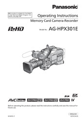 Panasonic AG-HPX301E Operating Instructions Manual