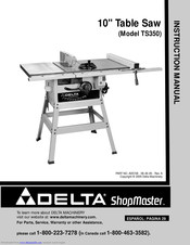 Delta ShopMaster Table Saw Model TS220LS  Manual