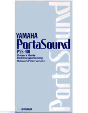 Yamaha PortaSound PSS-401 Owner's Manual
