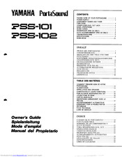 Yamaha PortaSound PSS-101 Owner's Manual