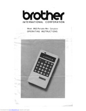 Brother 862 Operating Instructions Manual