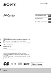 Sony XAV-65 Operating Instructions Manual