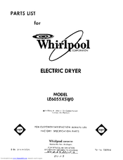 Whirlpool LE5705XPWO Parts List