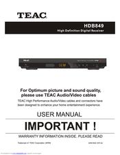 teac hdb849 manuals rh manualslib com TEAC Receiver Manual TEAC CD Recorder Manual