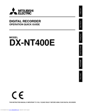 Mitsubishi Electric DX-NT400E Operation Quick Manual
