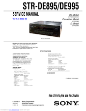 sony str de995 fm stereo fm am receiver manuals rh manualslib com sony str-de995 remote control Sony STR K660p