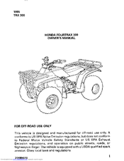 Honda Fourtrax 300 Owner S Manual Pdf Download Manualslib