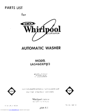 Whirlpool LA5430XPW3 Parts List