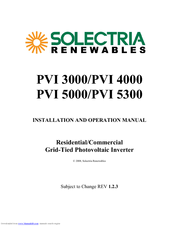 SOLECTRIA RENEWABLES PVI 3000 INSTALLATION AND OPERATION