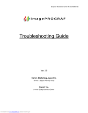 Canon imagePROGRAF iPF8100 Troubleshooting Manual