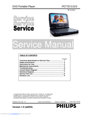 philips pet721c d s service manual pdf download rh manualslib com philips portable dvd player pet725 75 manual philips portable dvd player dcp 750 37 manual