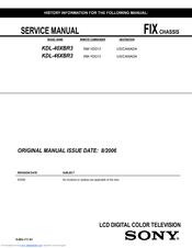 sony bravia kdl 46xbr3 manuals rh manualslib com Sony BRAVIA Smart TV Sony BRAVIA 46 Inch TV