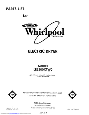 Whirlpool LE5200XTF0 Parts List
