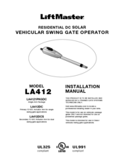 Chamberlain LiftMaster LA412 Manuals