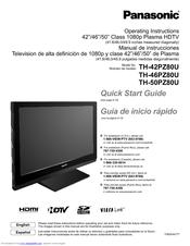 Panasonic TH-42PZ80U Operating Instructions Manual