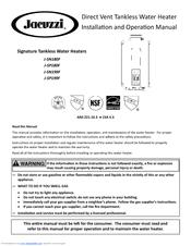 Jacuzzi J Sn180f Installation And Operation Manual Pdf Download Manualslib