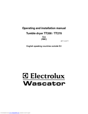 Electrolux Wascator TT200 Operating And Installation Manual