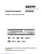 Sanyo HV-DX3E Instruction Manual