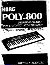 Korg POLY-800 Owner's Manual