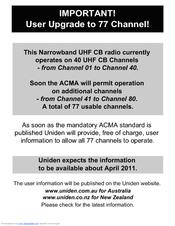 uniden uh7700nb manuals rh manualslib com Uniden Bearcat Scanner Manual Uniden 7 Inch Tablet Manual