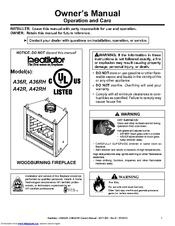 Heatilator Wood Burning Fireplace A42C Manuals