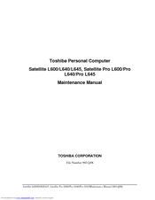 toshiba satellite l645 manuals rh manualslib com Toshiba Parts Manuals Toshiba TV Service Manual